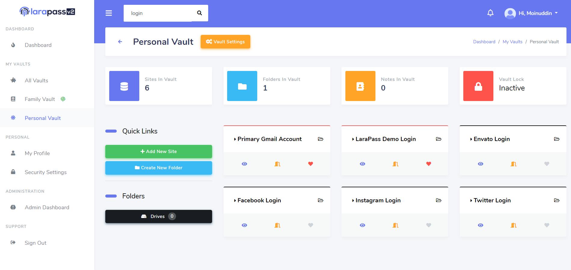 larapass-v2-dashboard